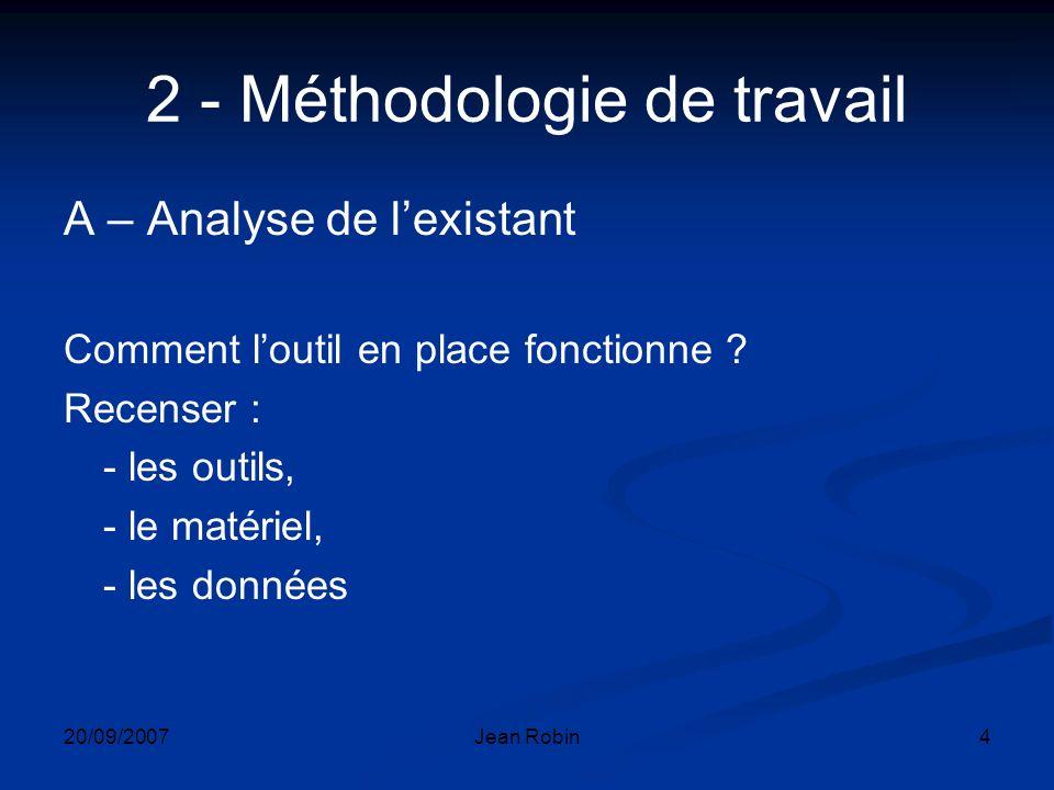 20/09/2007Jean Robin4 2 - Méthodologie de travail A – Analyse de lexistant Comment loutil en place fonctionne .