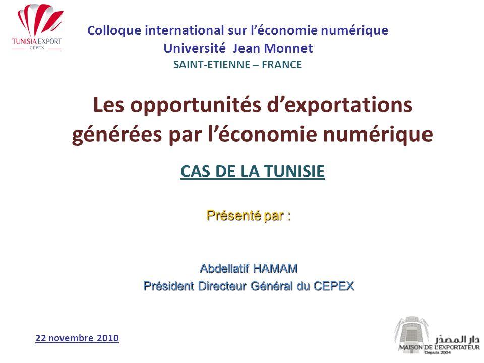 PLAN DE LA PRESENTATION La Tunisie : Une Ambition Numérique clairement affichée La Tunisie: Un environnement attractif pour les activités numériques La Tunisie: Des opportunités réelles dexportation des services numériques