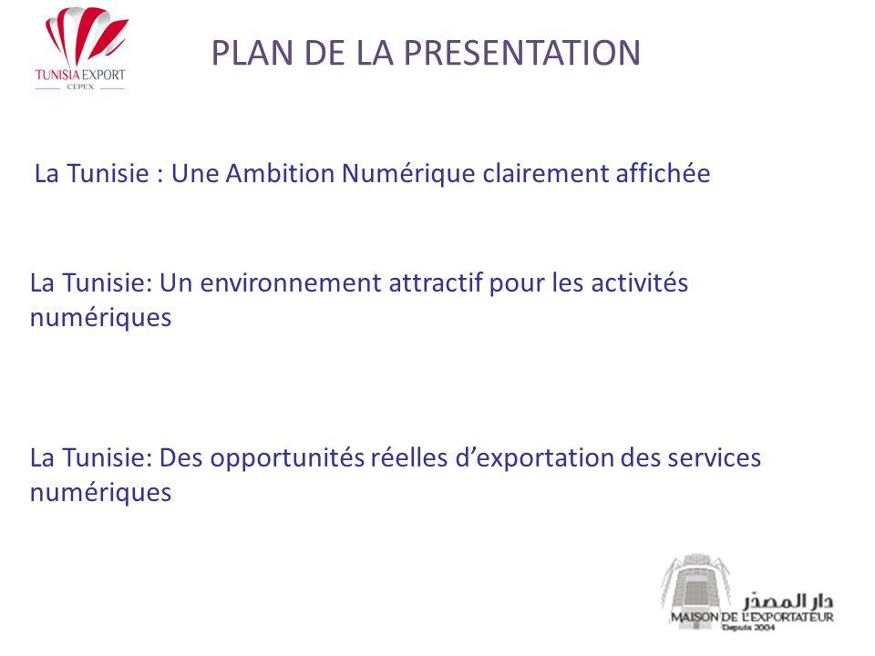 -Novembre 2005 : La Tunisie accueille le SMSI -2007: Adoption dune loi dorientation pour lédification de léconomie numérique ayant pour objectifs notamment: -Promouvoir les activités liées à léconomie numérique -Impulser le secteur de lexportation et développer lexportation des services immatériels -Accroitre les offres demploi des secteurs basées sur le savoir - Août 2010: Un train de mesures gouvernementales pour promouvoir les investissements étrangers et les exportations numériques LA TUNISIE: UNE AMBITION NUMERIQUE CLAIREMENT AFFICHEE
