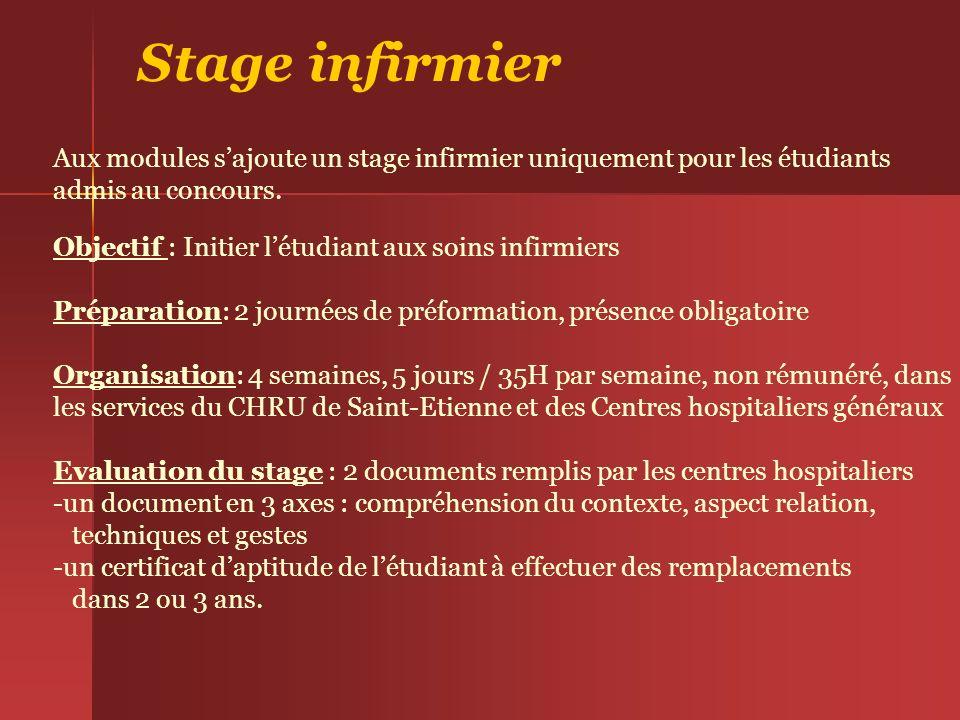 Stage infirmier Aux modules sajoute un stage infirmier uniquement pour les étudiants admis au concours. Objectif : Initier létudiant aux soins infirmi