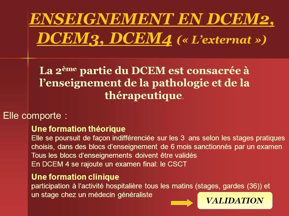 ENSEIGNEMENT EN DCEM2, DCEM3, DCEM4 (« Lexternat ») La 2 ème partie du DCEM est consacrée à lenseignement de la pathologie et de la thérapeutique. Une