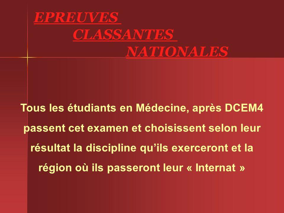 EPREUVES CLASSANTES NATIONALES Tous les étudiants en Médecine, après DCEM4 passent cet examen et choisissent selon leur résultat la discipline quils e