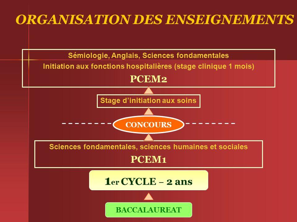 ORGANISATION DES ENSEIGNEMENTS BACCALAUREAT 1 er CYCLE – 2 ans Sciences fondamentales, sciences humaines et sociales PCEM1 Stage dinitiation aux soins