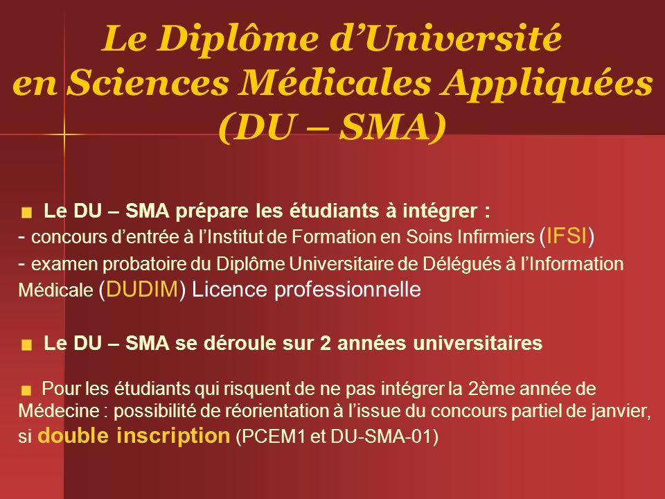 Le Diplôme dUniversité en Sciences Médicales Appliquées (DU – SMA) Le DU – SMA prépare les étudiants à intégrer : - concours dentrée à lInstitut de Fo