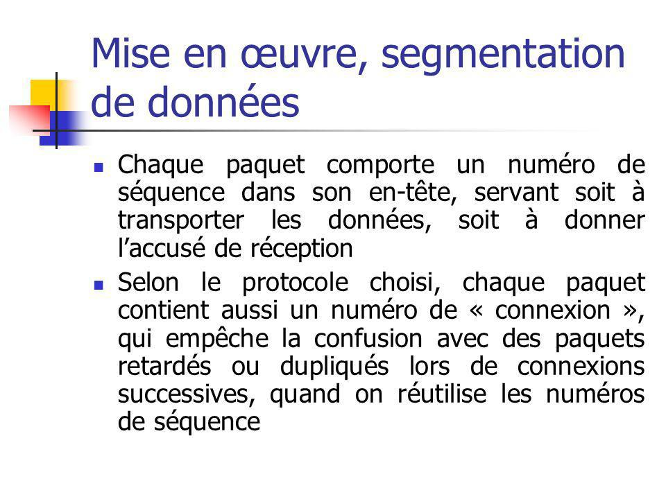 Mise en œuvre, segmentation de données Chaque paquet comporte un numéro de séquence dans son en-tête, servant soit à transporter les données, soit à d