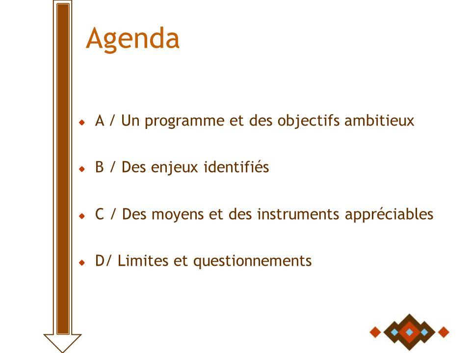 Agenda A / Un programme et des objectifs ambitieux B / Des enjeux identifiés C / Des moyens et des instruments appréciables D/ Limites et questionnements