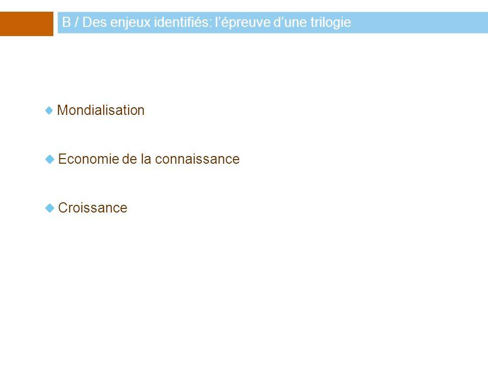 Mondialisation Economie de la connaissance Croissance B / Des enjeux identifiés: lépreuve dune trilogie