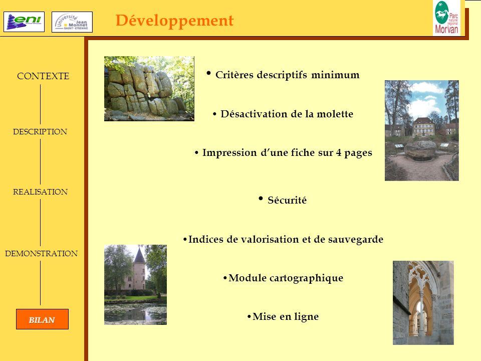 Développement CONTEXTE DESCRIPTION REALISATION DEMONSTRATION Critères descriptifs minimum Désactivation de la molette Impression dune fiche sur 4 page