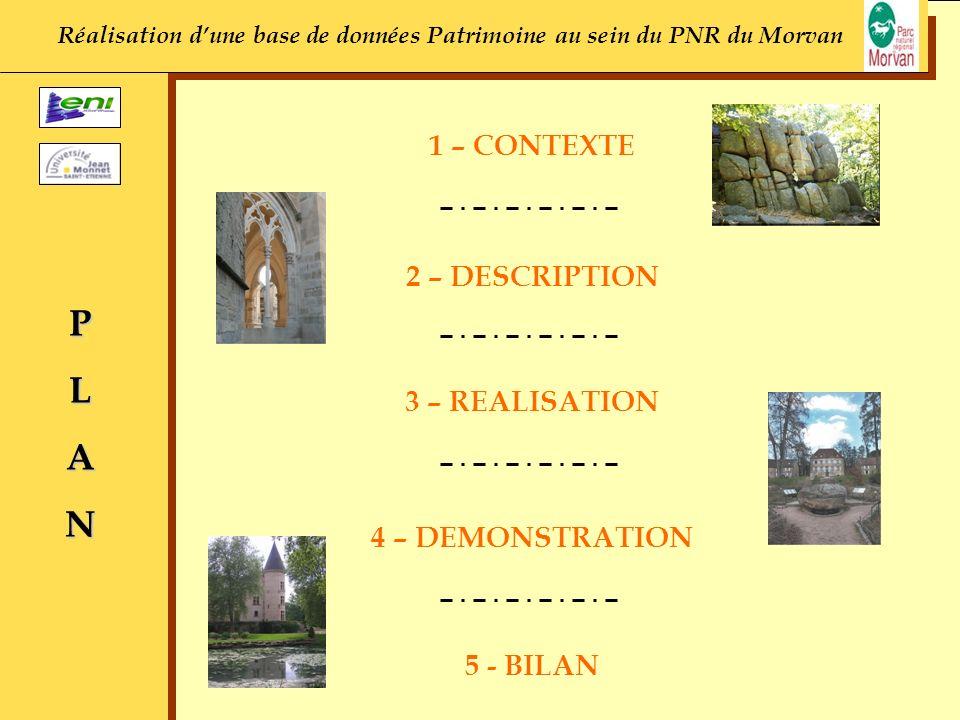 1 – CONTEXTE PLAN 2 – DESCRIPTION 3 – REALISATION 4 – DEMONSTRATION 5 - BILAN Réalisation dune base de données Patrimoine au sein du PNR du Morvan