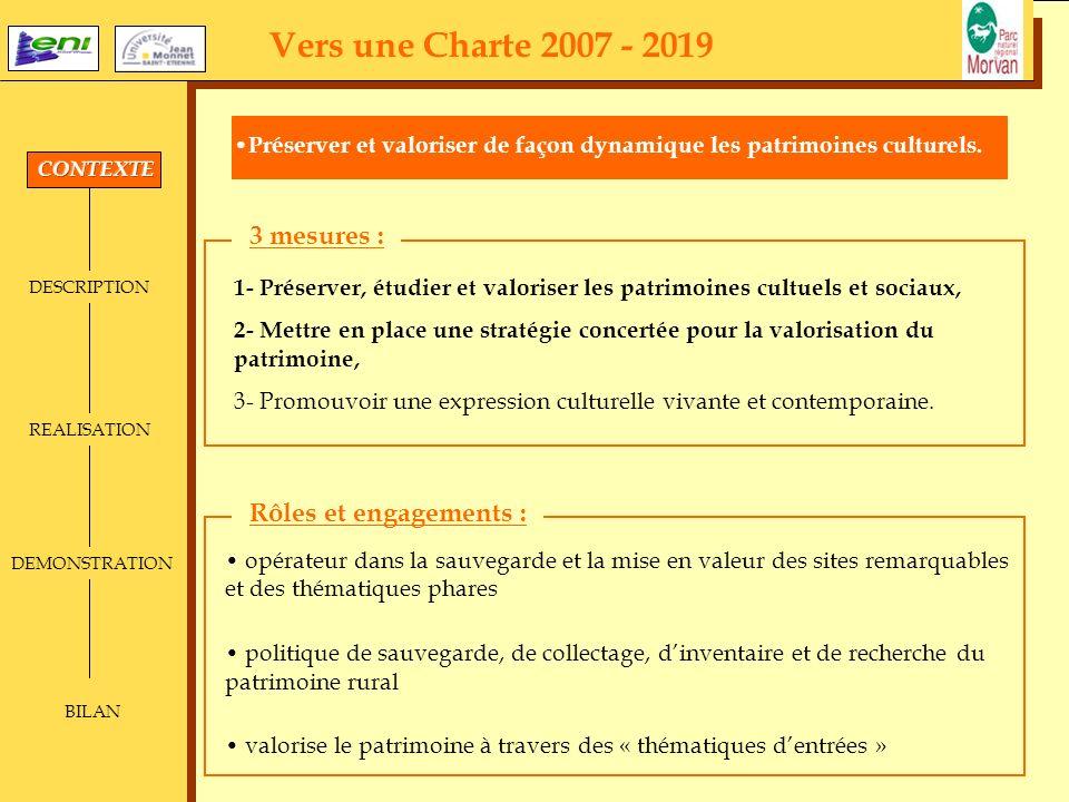 DESCRIPTION REALISATION DEMONSTRATION BILAN Vers une Charte 2007 - 2019 Préserver et valoriser de façon dynamique les patrimoines culturels. 1- Préser