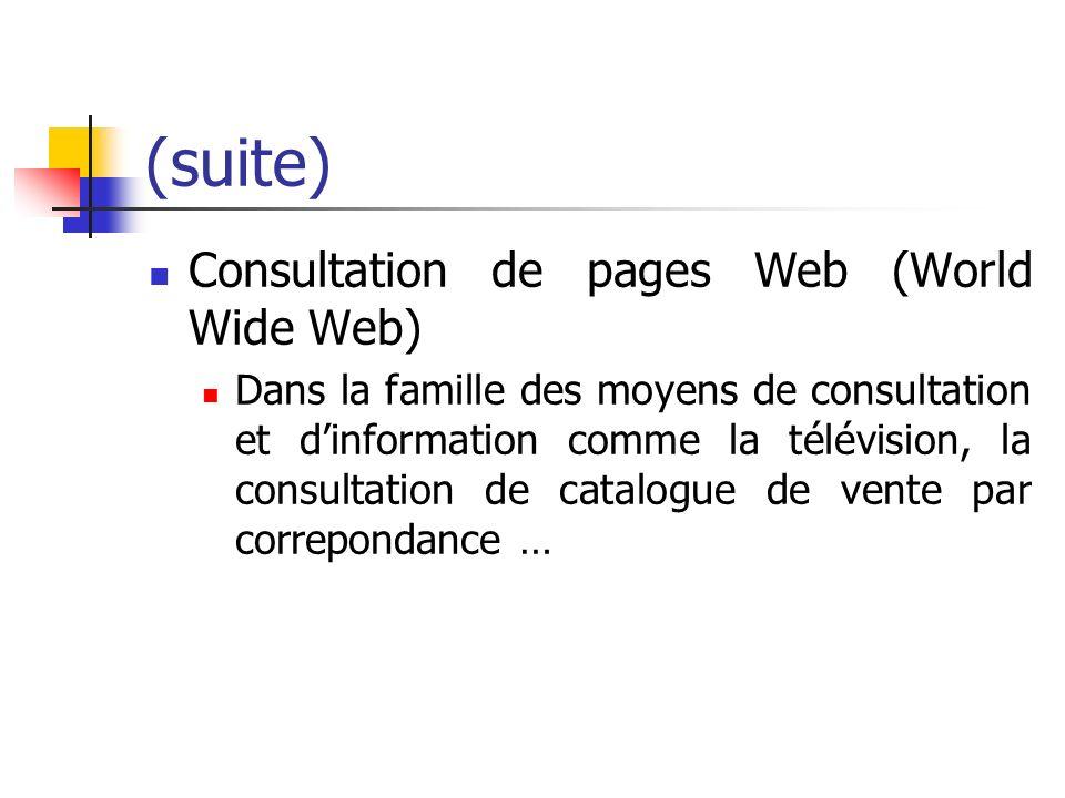 (suite) Consultation de pages Web (World Wide Web) Dans la famille des moyens de consultation et dinformation comme la télévision, la consultation de catalogue de vente par correpondance …