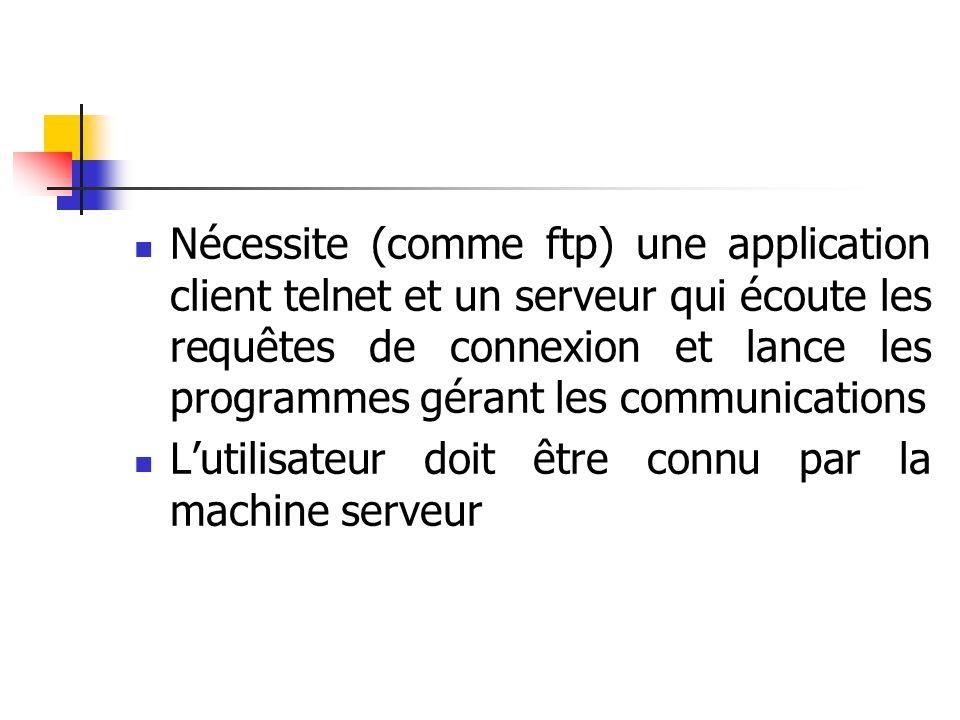 Nécessite (comme ftp) une application client telnet et un serveur qui écoute les requêtes de connexion et lance les programmes gérant les communications Lutilisateur doit être connu par la machine serveur