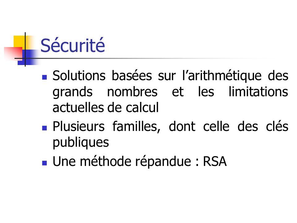 Sécurité Solutions basées sur larithmétique des grands nombres et les limitations actuelles de calcul Plusieurs familles, dont celle des clés publiques Une méthode répandue : RSA