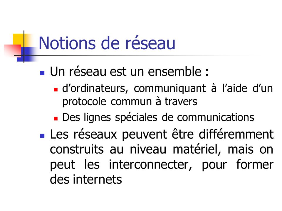 Notions de réseau Un réseau est un ensemble : dordinateurs, communiquant à laide dun protocole commun à travers Des lignes spéciales de communications Les réseaux peuvent être différemment construits au niveau matériel, mais on peut les interconnecter, pour former des internets