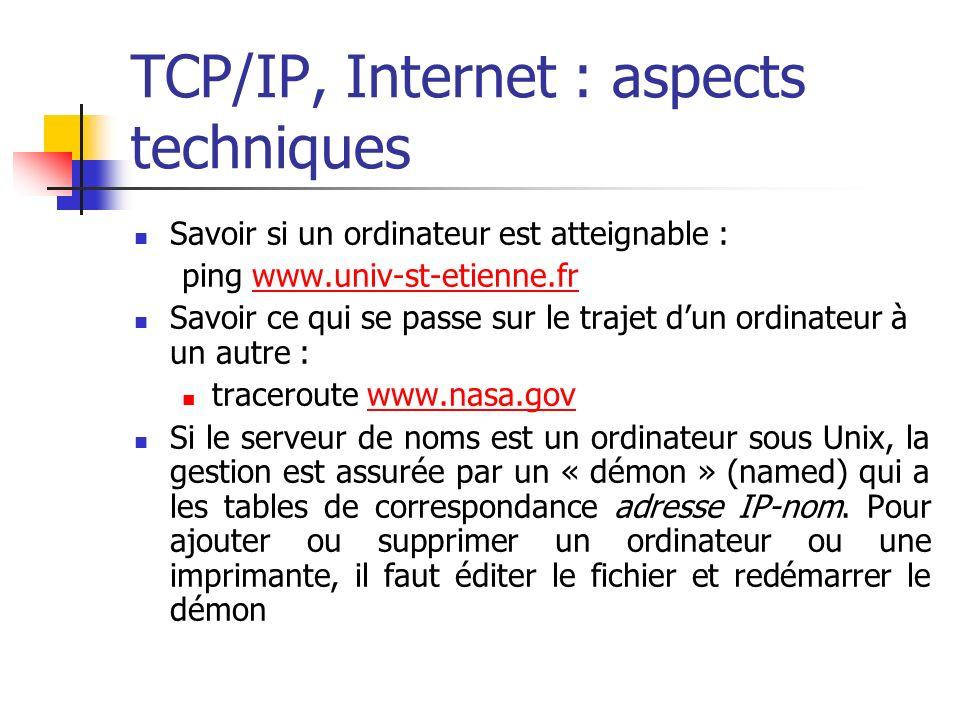 TCP/IP, Internet : aspects techniques Savoir si un ordinateur est atteignable : ping www.univ-st-etienne.frwww.univ-st-etienne.fr Savoir ce qui se passe sur le trajet dun ordinateur à un autre : traceroute www.nasa.govwww.nasa.gov Si le serveur de noms est un ordinateur sous Unix, la gestion est assurée par un « démon » (named) qui a les tables de correspondance adresse IP-nom.