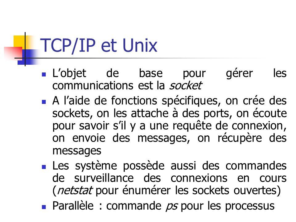 TCP/IP et Unix Lobjet de base pour gérer les communications est la socket A laide de fonctions spécifiques, on crée des sockets, on les attache à des ports, on écoute pour savoir sil y a une requête de connexion, on envoie des messages, on récupère des messages Les système possède aussi des commandes de surveillance des connexions en cours (netstat pour énumérer les sockets ouvertes) Parallèle : commande ps pour les processus