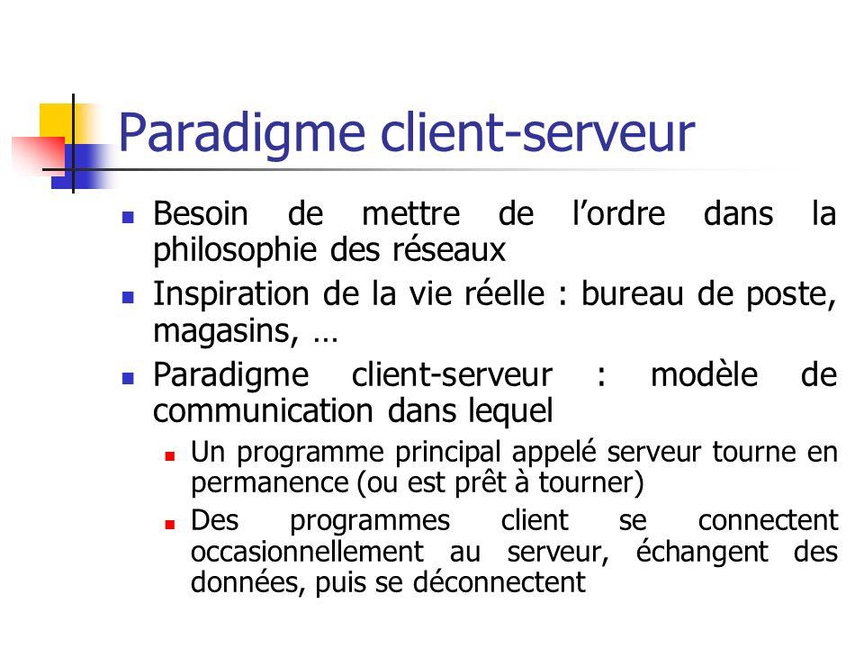 Paradigme systèmes distribués Autre inspiration : dans une équipe, chacun sa tâche Paradigme système distribué : modèle de communication dans lequel : Les données et les instructions de traitement sont réparties sur plusieurs ordinateurs … … qui communiquent avec des programmes spéciaux, pour interagir, partager les résultats, et réaliser ensemble une tâche complexe