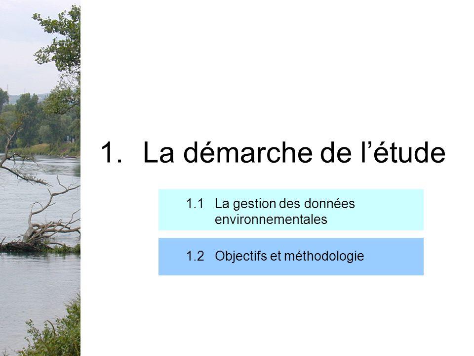 1.1 La gestion des données environnementales 1.La démarche de létude Données environnementales: Définition: « toute information […] qui concerne létat des eaux, de lair, du sol, de la faune, de la flore, des terres et des espaces naturels, ainsi que les activités […] les affectant et les activités ou les mesures destinées à les protéger » (Directive 90/313/CEE du Conseil du 7 juin 1980 ) Soumises à une obligation de diffusion Division nature: données liées à la biodiversité et à la sauvegarde des espaces naturels.