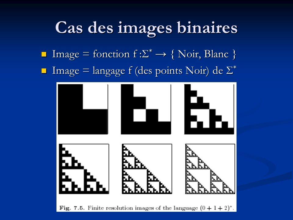 Cas des images binaires Image = fonction f :Σ * { Noir, Blanc } Image = fonction f :Σ * { Noir, Blanc } Image = langage f (des points Noir) de Σ * Ima