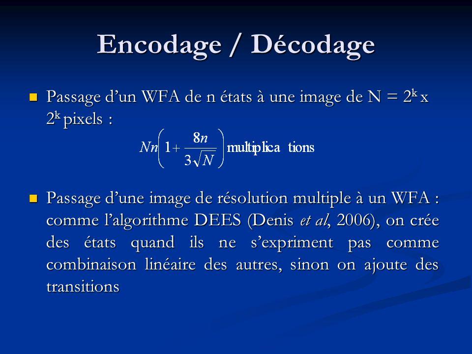 Encodage / Décodage Passage dun WFA de n états à une image de N = 2 k x 2 k pixels : Passage dun WFA de n états à une image de N = 2 k x 2 k pixels : Passage dune image de résolution multiple à un WFA : comme lalgorithme DEES (Denis et al, 2006), on crée des états quand ils ne sexpriment pas comme combinaison linéaire des autres, sinon on ajoute des transitions Passage dune image de résolution multiple à un WFA : comme lalgorithme DEES (Denis et al, 2006), on crée des états quand ils ne sexpriment pas comme combinaison linéaire des autres, sinon on ajoute des transitions