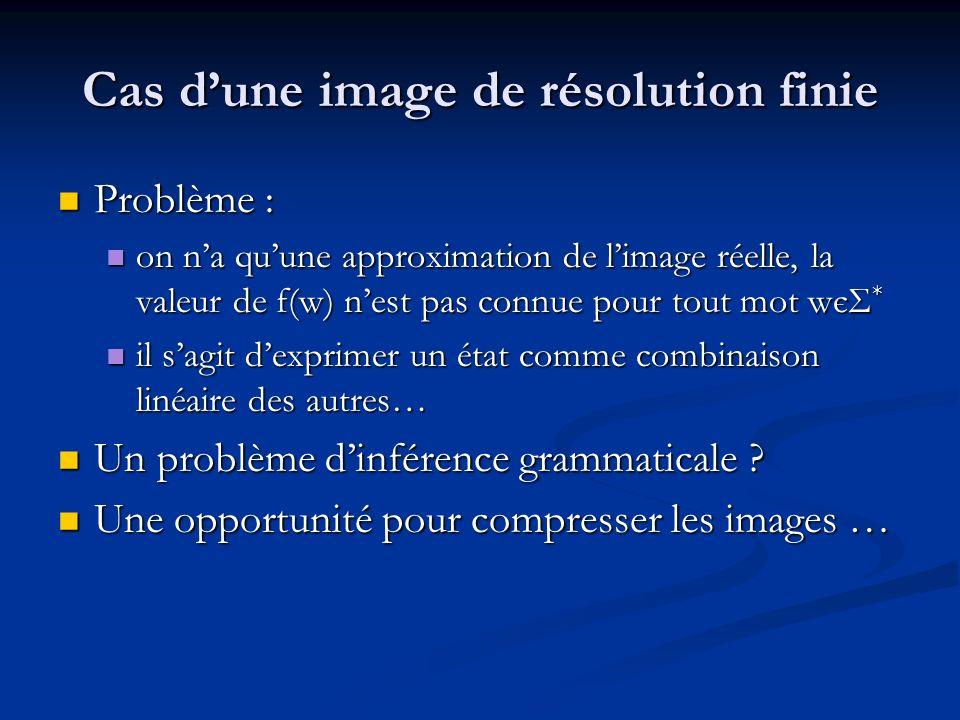 Cas dune image de résolution finie Problème : Problème : on na quune approximation de limage réelle, la valeur de f(w) nest pas connue pour tout mot w