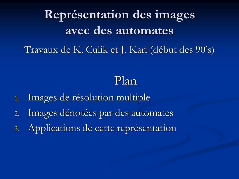 Représentation des images avec des automates Travaux de K. Culik et J. Kari (début des 90s) Plan 1. Images de résolution multiple 2. Images dénotées p