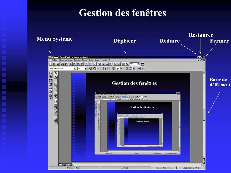 Les systèmes de gestion de fichiers n Windows n Unix