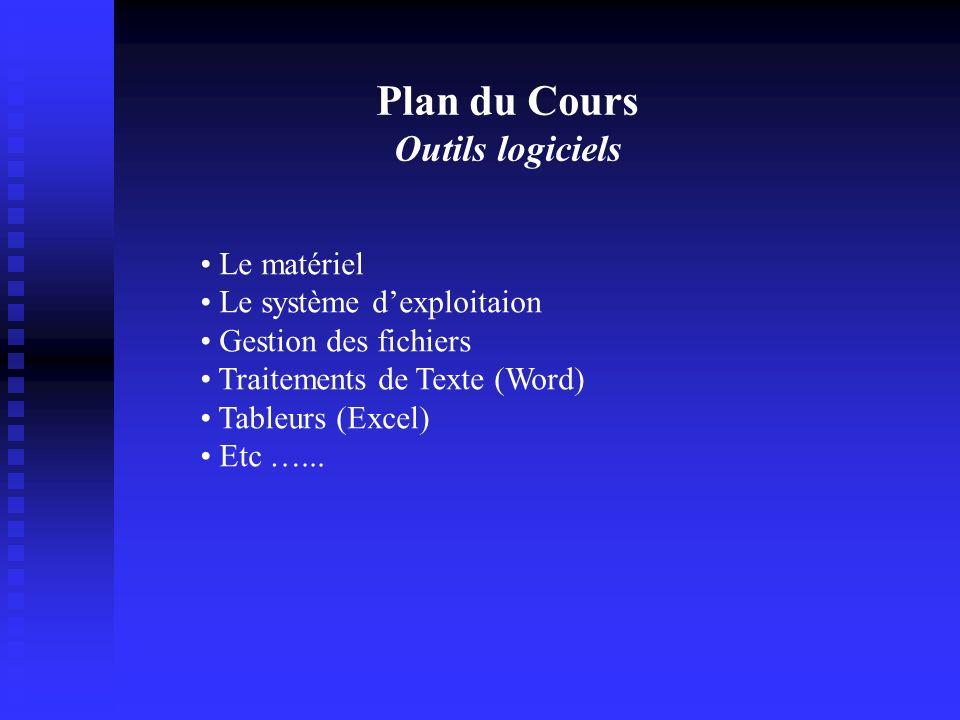Plan du Cours Outils logiciels Le matériel Le système dexploitaion Gestion des fichiers Traitements de Texte (Word) Tableurs (Excel) Etc …...