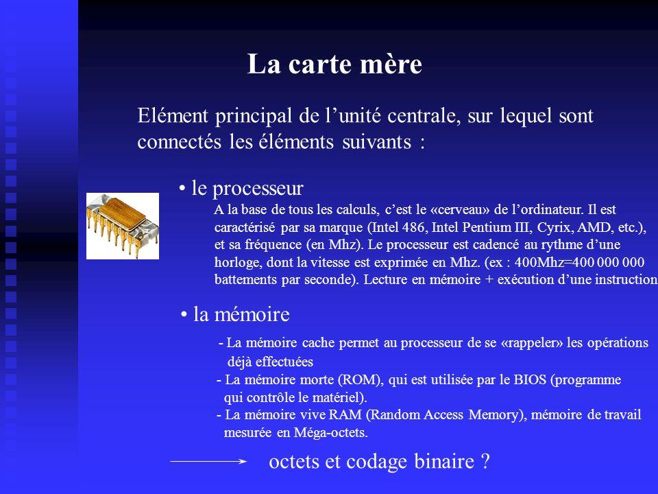 La carte mère Elément principal de lunité centrale, sur lequel sont connectés les éléments suivants : les périphériques internes le processeur A la base de tous les calculs, cest le «cerveau» de lordinateur.