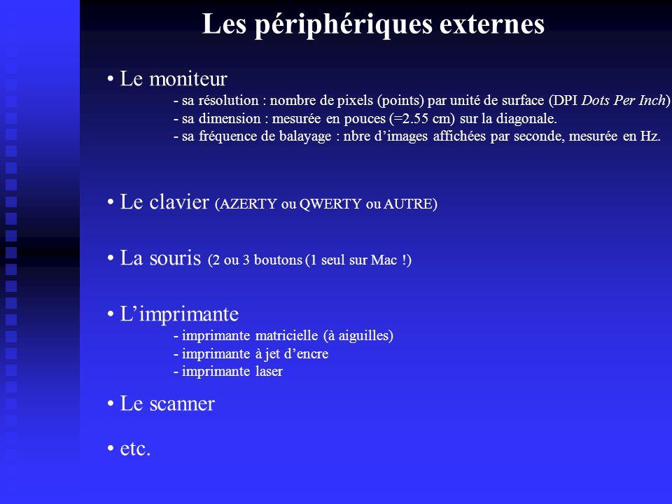 Les périphériques externes Le moniteur - sa résolution : nombre de pixels (points) par unité de surface (DPI Dots Per Inch) - sa dimension : mesurée en pouces (=2.55 cm) sur la diagonale.