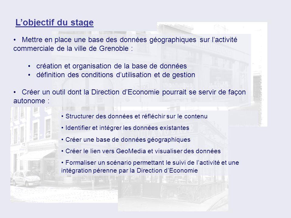 Lobjectif du stage Mettre en place une base des données géographiques sur lactivité commerciale de la ville de Grenoble : création et organisation de