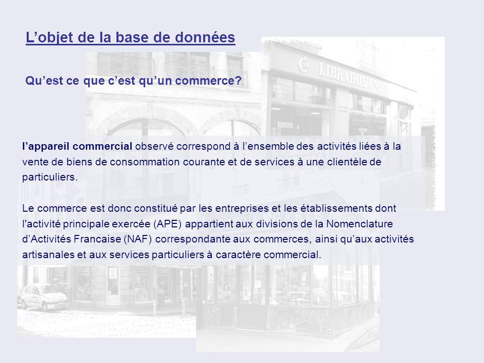lappareil commercial observé correspond à lensemble des activités liées à la vente de biens de consommation courante et de services à une clientèle de