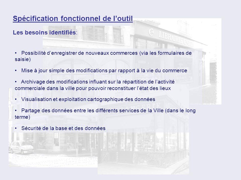 Spécification fonctionnel de loutil Les besoins identifiés: Possibilité denregistrer de nouveaux commerces (via les formulaires de saisie) Mise à jour