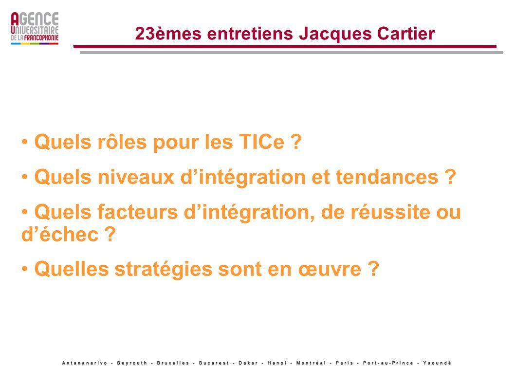 23èmes entretiens Jacques Cartier … de nouvelles stratégies Ressources éducatives libres (REL) Libre accès Archives ouvertes Nouvelles normes (ISO SC36,Dublin Core, Scorm, LOM..)