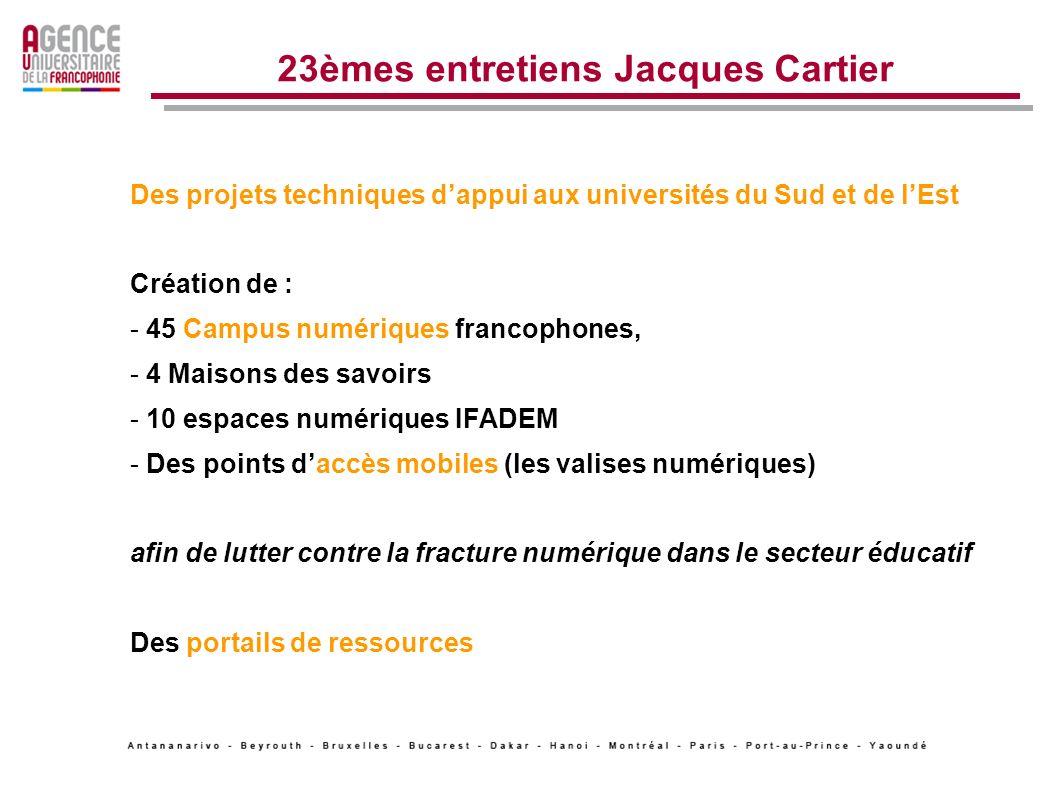 23èmes entretiens Jacques Cartier - Des projets techniques dappui aux universités du Sud et de lEst - Un fonds multilatéral de financement de projets : le fonds francophone des inforoutes (OIF) - Une offre de formation structurée et diplômante - Des appels à projets réguliers, internationaux et régionaux - Des appels à candidatures (10472 candidatures en juin 2010) - Des partenariats internationaux - Un appui à la recherche (res@tice) Programmation quadriennale