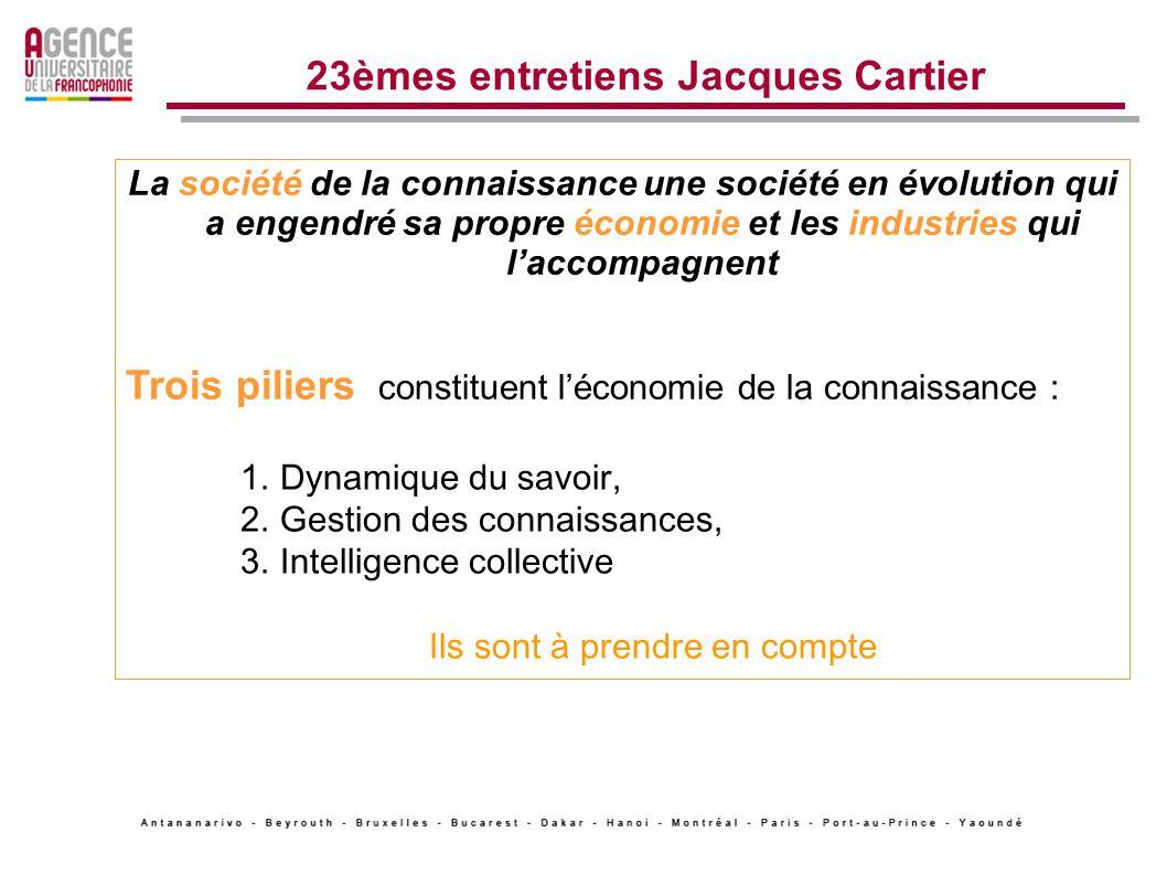 2 Une approche globale Lusage des TICe pour accompagner le développement des universités en prenant en compte lévolution des sociétés vers la société de la connaissance partagée 23èmes entretiens Jacques Cartier