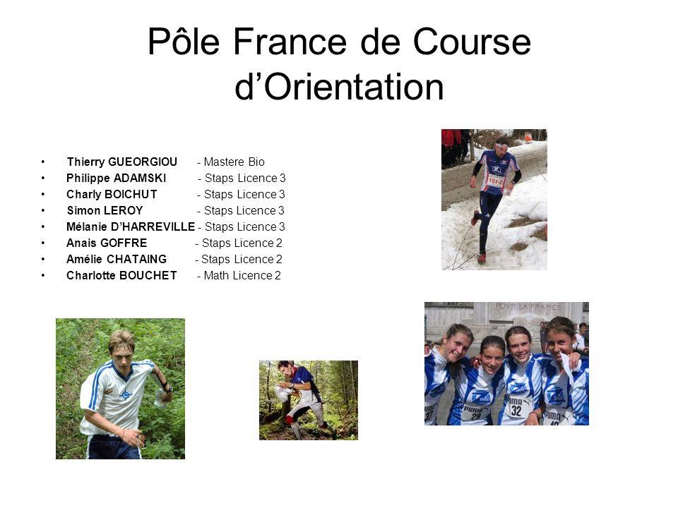 Pôle France de Course dOrientation Thierry GUEORGIOU - Mastere Bio Philippe ADAMSKI - Staps Licence 3 Charly BOICHUT - Staps Licence 3 Simon LEROY - S