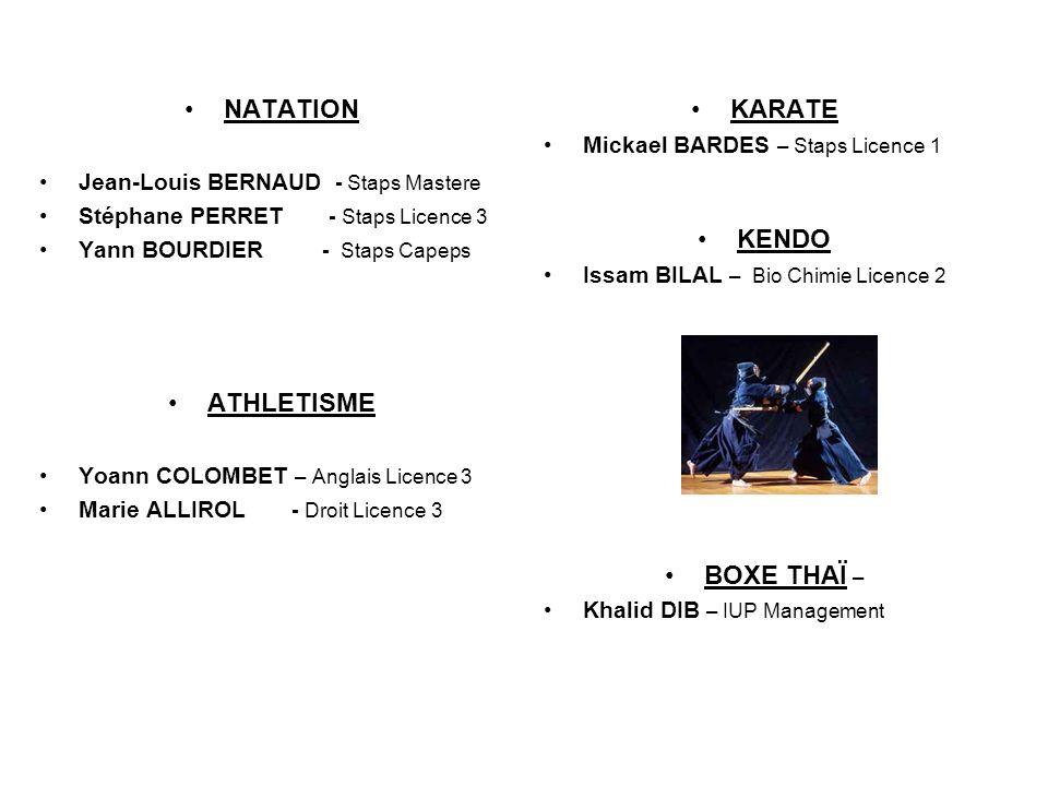 NATATION Jean-Louis BERNAUD - Staps Mastere Stéphane PERRET - Staps Licence 3 Yann BOURDIER - Staps Capeps ATHLETISME Yoann COLOMBET – Anglais Licence