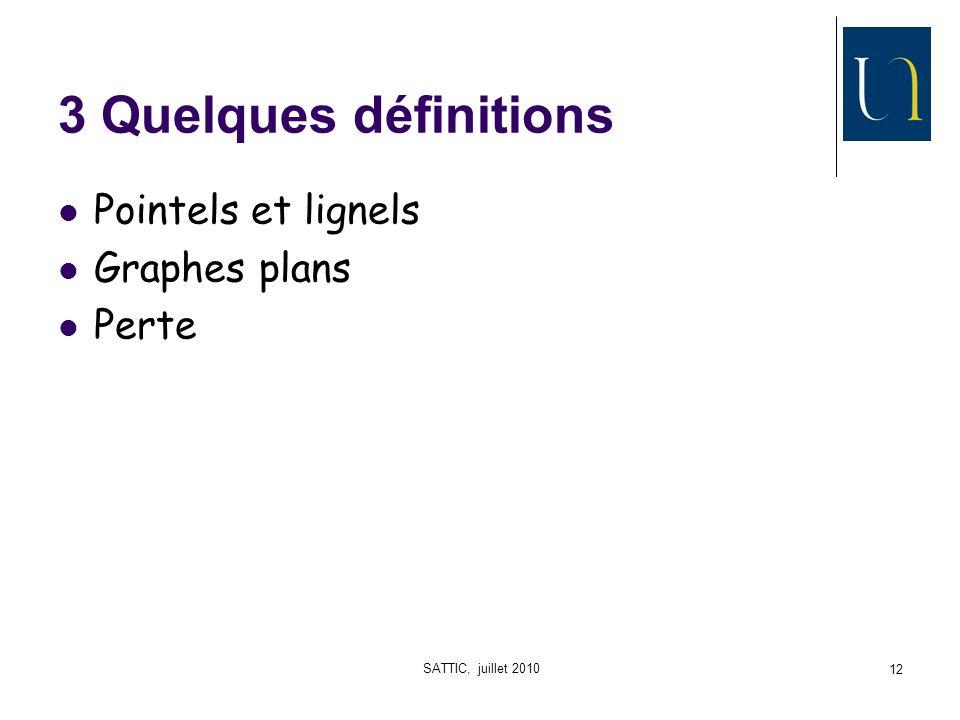 SATTIC, juillet 2010 12 3 Quelques définitions Pointels et lignels Graphes plans Perte