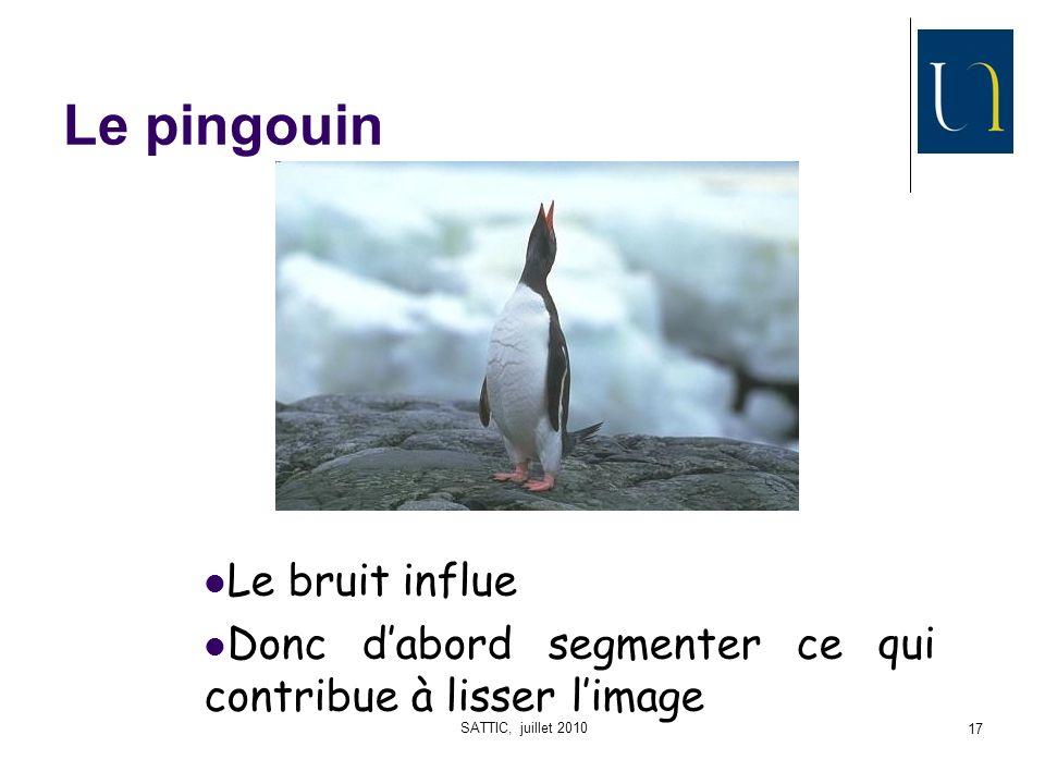 SATTIC, juillet 2010 17 Le pingouin Le bruit influe Donc dabord segmenter ce qui contribue à lisser limage
