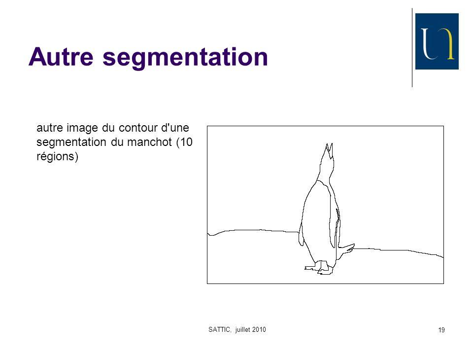 SATTIC, juillet 2010 19 Autre segmentation autre image du contour d une segmentation du manchot (10 régions)