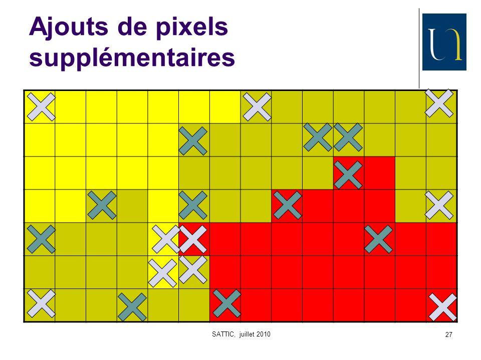 SATTIC, juillet 2010 27 Ajouts de pixels supplémentaires