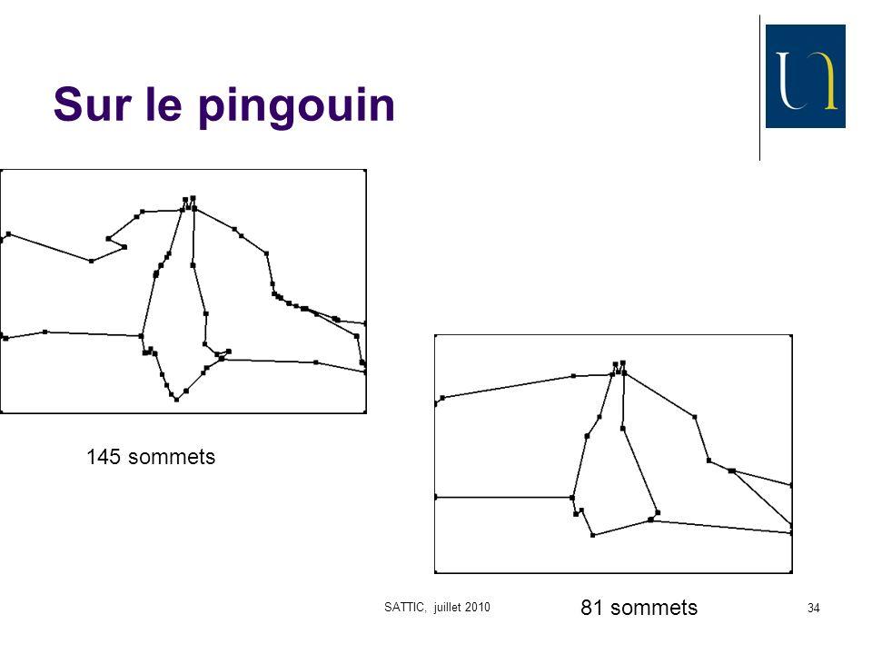 SATTIC, juillet 2010 34 Sur le pingouin 81 sommets 145 sommets