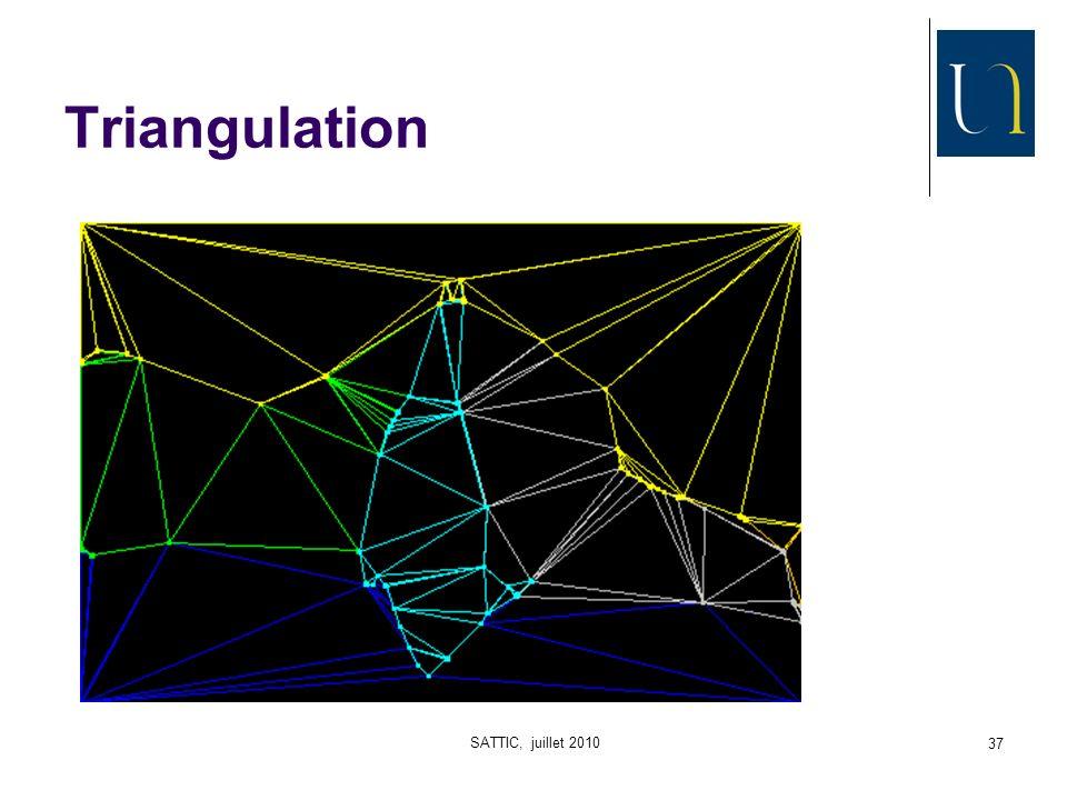 SATTIC, juillet 2010 38 6 Du graphe à limage Pour pouvoir vérifier la qualité de notre graphe, il faut pouvoir reconstruire une image derrière Attention : il sagit de graphes enrichis avec 2 informations : Position des sommets Couleurs des zones Im(G,C,P)