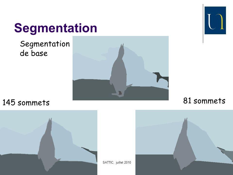 SATTIC, juillet 2010 40 Segmentation 145 sommets 81 sommets Segmentation de base