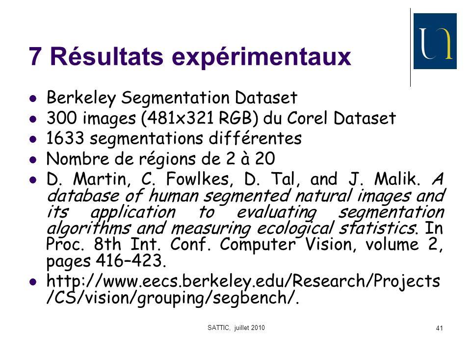 SATTIC, juillet 2010 41 7 Résultats expérimentaux Berkeley Segmentation Dataset 300 images (481x321 RGB) du Corel Dataset 1633 segmentations différentes Nombre de régions de 2 à 20 D.