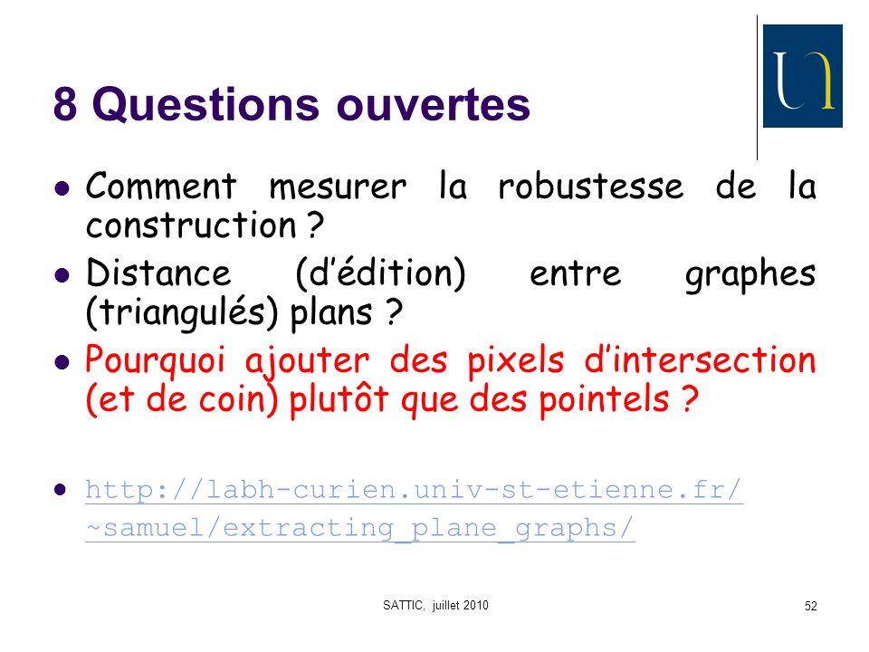 SATTIC, juillet 2010 52 8 Questions ouvertes Comment mesurer la robustesse de la construction .