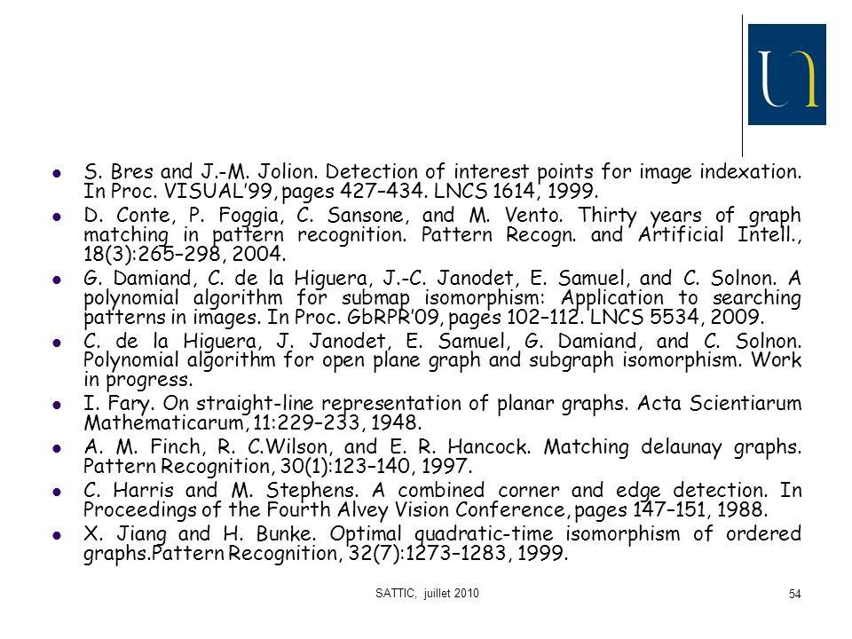 SATTIC, juillet 2010 54 S.Bres and J.-M. Jolion.