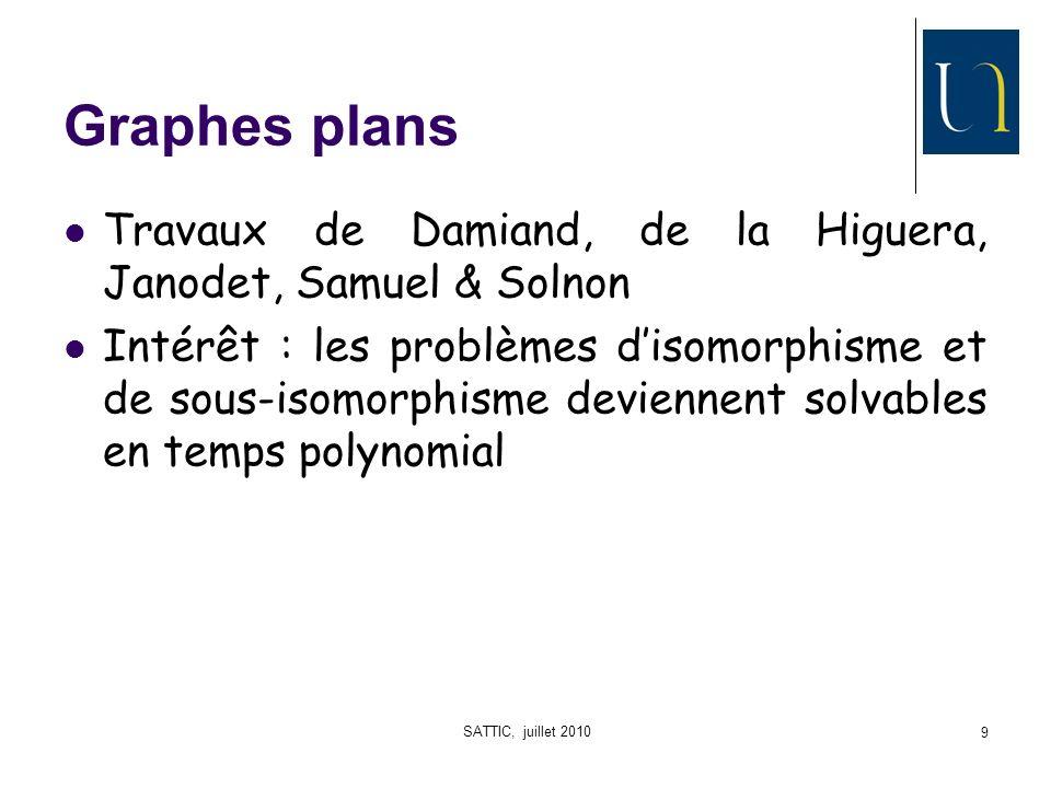 SATTIC, juillet 2010 9 Graphes plans Travaux de Damiand, de la Higuera, Janodet, Samuel & Solnon Intérêt : les problèmes disomorphisme et de sous-isomorphisme deviennent solvables en temps polynomial