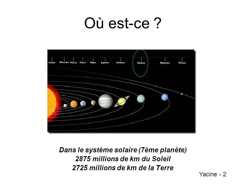 Où est-ce ? Dans le système solaire (7ème planète) 2875 millions de km du Soleil 2725 millions de km de la Terre Yacine - 2